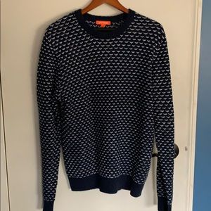 Navy blue and white sweater